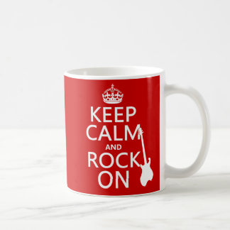 Keep Calm and Rock On (guitar)(any color) Coffee Mug