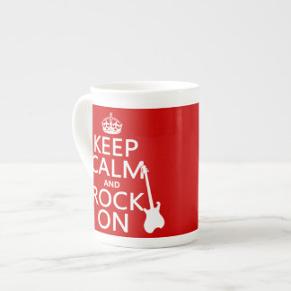 Keep Calm and Rock On (guitar)(any color) Tea Cup
