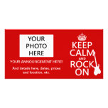 Keep Calm and Rock On (guitar)(any colour) Customized Photo Card