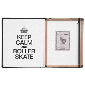 KEEP CALM AND ROLLER SKATE iPad FOLIO CASE