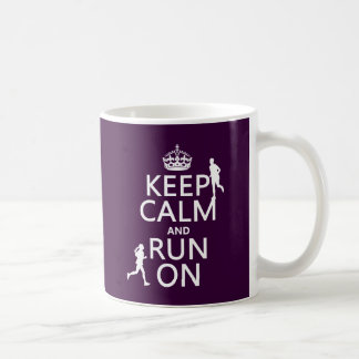 Keep Calm and Run On (customizable colors) Basic White Mug