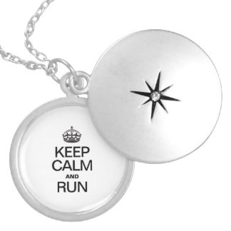 KEEP CALM AND RUN ROUND LOCKET NECKLACE