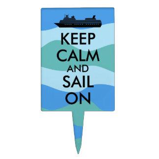 Keep Calm and Sail On Cruise Ship Custom Cake Picks