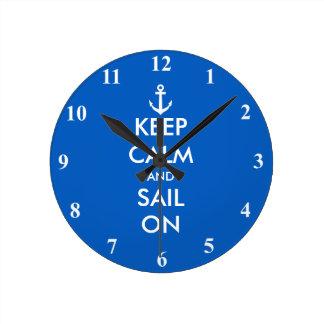 Keep Calm and sail on custom nautical wall clock