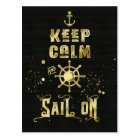 Keep Calm and Sail On Gold Helm Anchor Typography Postcard