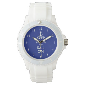 Keep Calm and sail on nautical wrist watch gift