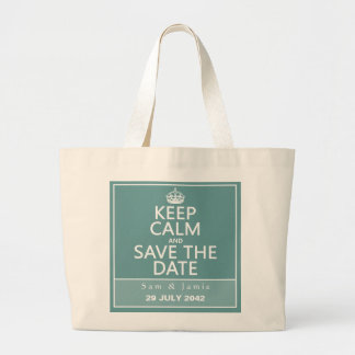 Keep Calm and Save the Date (fully customizable) Jumbo Tote Bag