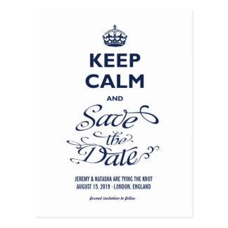 Keep Calm And Save The Date Funny Humour Photo Postcard