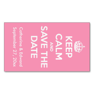 Keep Calm and Save the Date Happy Pink and White Magnetic Business Cards