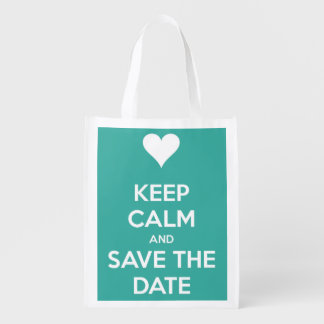 Keep Calm and Save the Date Island Blue