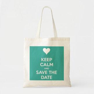 Keep Calm and Save the Date Island Blue Budget Tote Bag