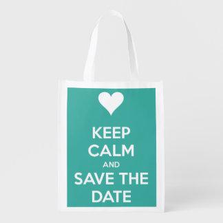 Keep Calm and Save the Date Island Blue