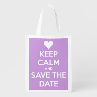 Keep Calm and Save the Date Lavender and White