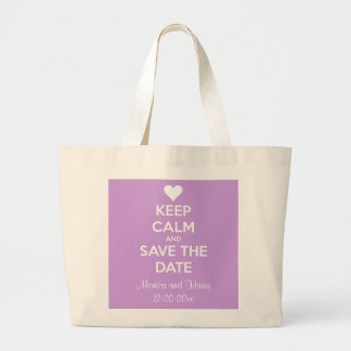 Keep Calm and Save the Date Lavender Jumbo Tote Bag