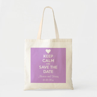 Keep Calm and Save the Date Lavender Personalized Budget Tote Bag