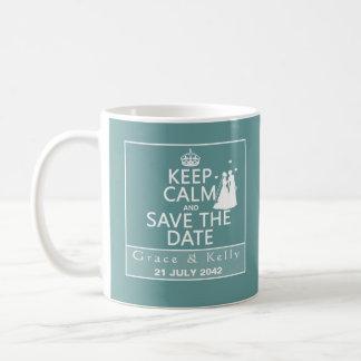 Keep Calm and Save The Date Lesbian Wedding Basic White Mug