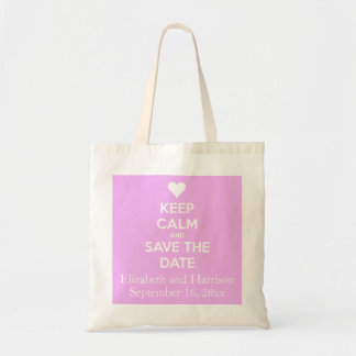 Keep Calm and Save the Date Pink Personalized Budget Tote Bag