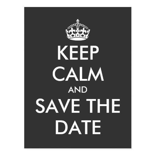 Keep calm and save the date postcard | Wedding