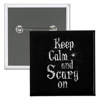 Keep Calm and Scary On, Black Spiderweb Halloween 15 Cm Square Badge