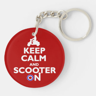 Keep calm and scooter on Red White Double-Sided Round Acrylic Key Ring
