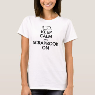Keep Calm and Scrapbook On Ladies Tee, Black T-Shirt