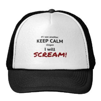 keep calm and scream slogan cap