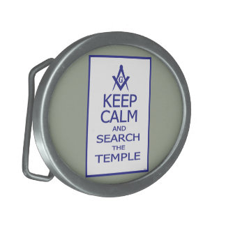 KEEP CALM AND SEARCH TEMPLE BELT BUCKLE