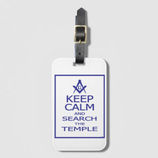 KEEP CALM AND SEARCH TEMPLE LUGGAGE TAG