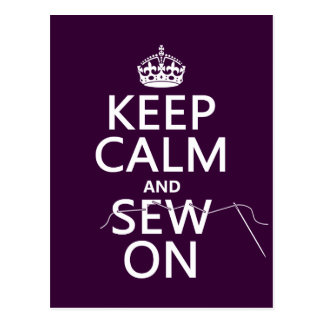 Keep Calm and Sew On (in all colors) Postcard