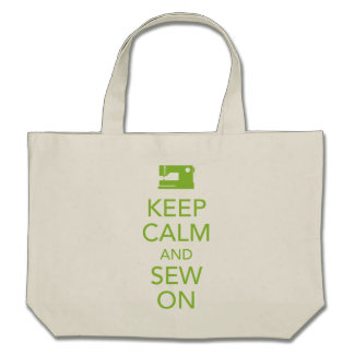 Keep Calm and Sew On Lime Green Tote Bag