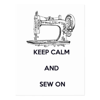 Keep Calm and Sew On Postcard