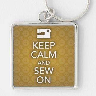 Keep Calm and Sew On Yellow Keychain