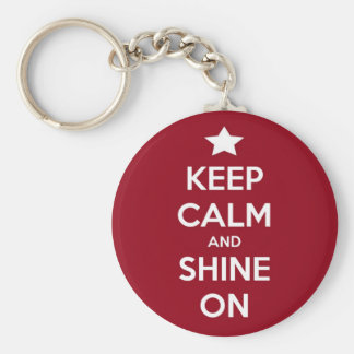 Keep Calm and Shine On Red Basic Round Button Key Ring