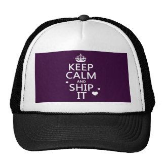 Keep Calm and Ship It (hearts) (in any color) Mesh Hats