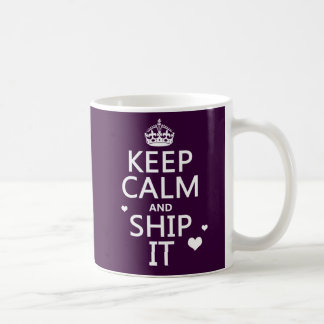 Keep Calm and Ship It (hearts) (in any color) Coffee Mug