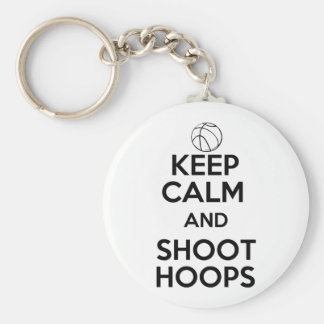 Keep Calm and Shoot Hoops Basic Round Button Key Ring