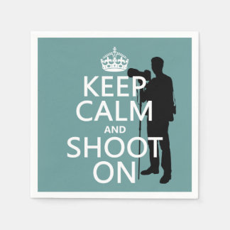 Keep Calm and Shoot On (photography) Paper Napkin