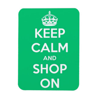 Keep Calm and Shop On Green and White Rectangular Photo Magnet