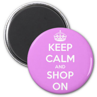 Keep Calm and Shop On Pink 6 Cm Round Magnet