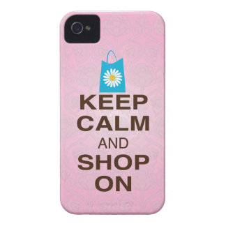 KEEP CALM and SHOP ON Pink Blue iPhone4/4s Case