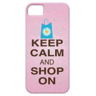 KEEP CALM and SHOP ON Pink Blue iPhone5 Case