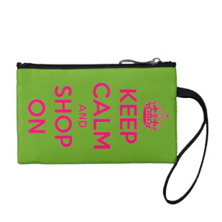 Keep Calm and Shop On Pink on Green Personalized Coin Purse