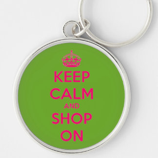 Keep Calm and Shop On Pink on Green Silver-Colored Round Key Ring