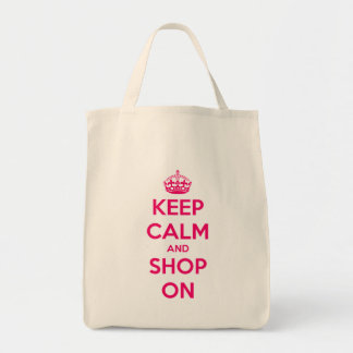 Keep Calm and Shop On Pink on Natural Tote Bag