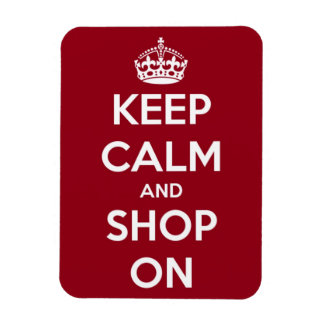 Keep Calm and Shop On Red and White Rectangle Rectangular Magnets