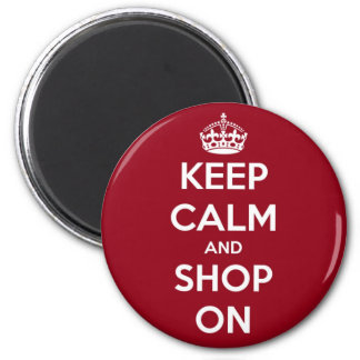 Keep Calm and Shop On Red and White Round Refrigerator Magnet