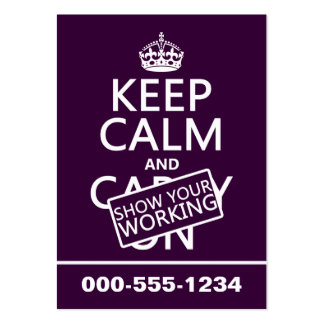Keep Calm and Show Your Working (any color) Pack Of Chubby Business Cards
