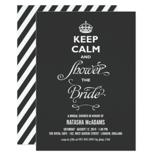 Keep Calm And Shower The Bride Funny Bridal Shower Card