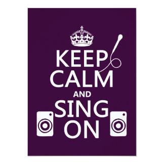 Keep Calm and Sing On (Karaoke) 14 Cm X 19 Cm Invitation Card