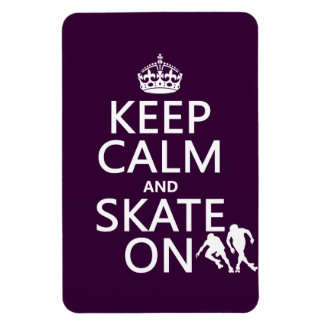Keep Calm and Skate On (rollerskates) (any color) Rectangular Photo Magnet